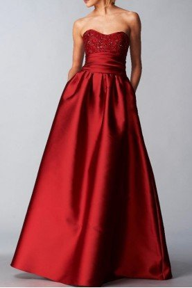 Marchesa Notte Red Strapless Sequined Bodice Mikado Ball Gown