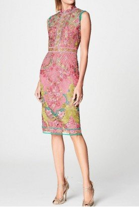 Marchesa Notte Pink Sleeveless Guipure Lace Cocktail Dress