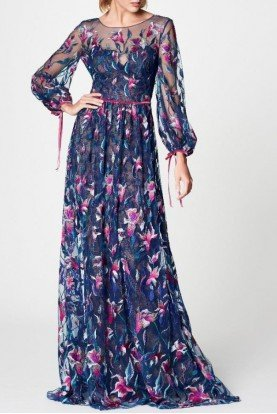 Marchesa Notte Navy Blue Long Sleeve Floral Evening Gown