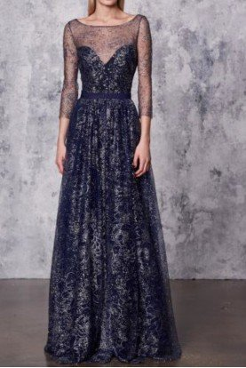 Marchesa Notte Sleeved Navy Blue Glitter Tulle A Line Gown