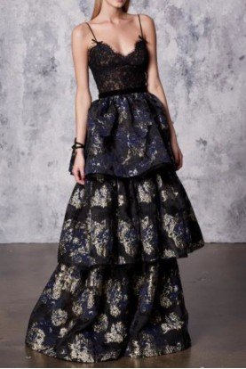 Black Sleeveless Tiered Brocade Gown
