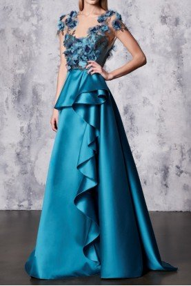 Marchesa Notte Short Sleeve Mikado Ball Gown