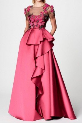 Marchesa Notte Short Sleeve Mikado Ball Gown Fuchsia Pink