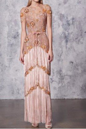 Blush Pink Illusion Fringe Column Gown Art Deco