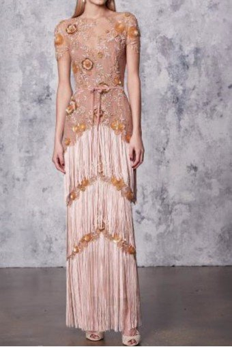 Marchesa Notte Blush Pink Illusion Fringe Column Gown Art Deco
