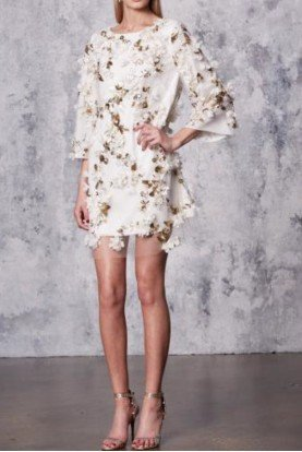 Marchesa Notte Embellished 3D Floral Sequin Tunic Cocktail Dress