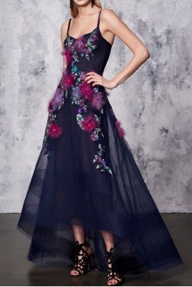 Navy Blue Sleeveless High Low Flower Gown