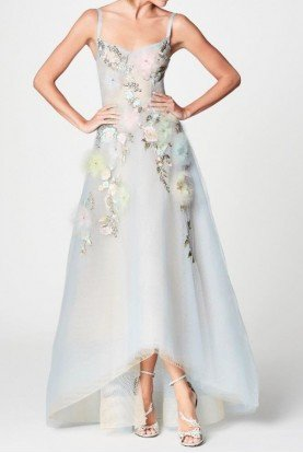 Light Ice Blue Sleeveless High Low Gown
