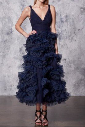 Marchesa Notte Navy Blue Sleeveless Tulle Midi Tea Dress