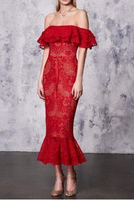 Red Sleeveless Double Ruffle Lace Dress