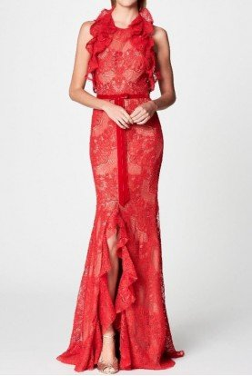 Marchesa Notte Red Sleeveless Double Ruffle Lace Gown
