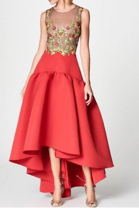 Marchesa Notte Red Embroidered Silk Faille High Low Dress