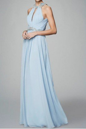 Light Blue Sleeveless Chiffon Halter Gown