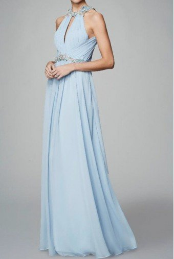 Marchesa Notte Light Blue Sleeveless Chiffon Halter Gown
