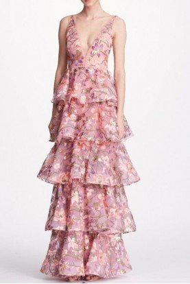 Lilac Sleeveless Floral Tiered Gown