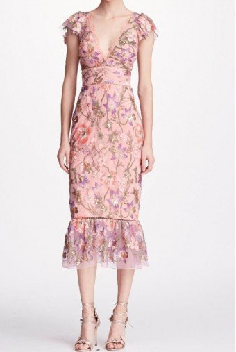 Marchesa Notte Pink Cap Sleeve Floral Midi Tea Dress