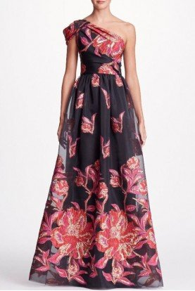 Marchesa Notte One Shoulder Fils Coupe Gown