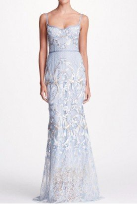 Ice Blue Sleeveless Embroidered Corset Gown