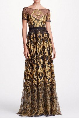 Marchesa Notte Short Sleeve Black Gold Embroidered Gown