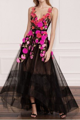 Black Sleeveless 3D Floral High Low Gown