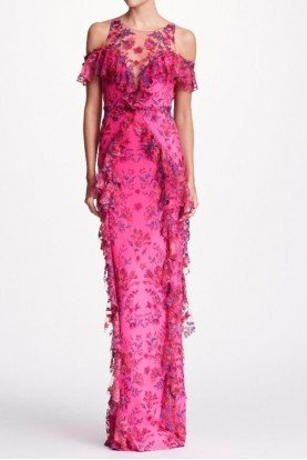 Marchesa Notte Pink Floral Embroidered Neoprene Gown
