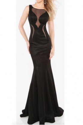 Illusion Black Mermaid Gown  with Cutout Open Back
