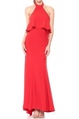 Xscape Popover Ruffle-Back Halter Gown Red