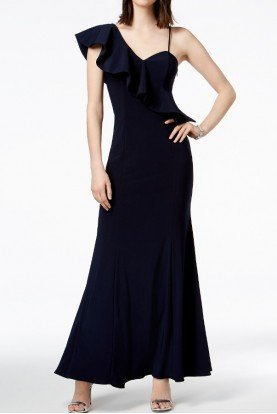 Xscape Navy Blue Asymmetrical Ruffle Gown