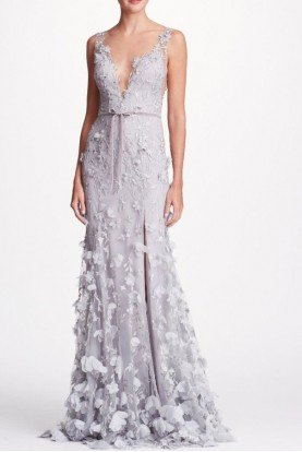 Marchesa Notte Gorgeous Silver Sleeveless Embroidered 3D Gown