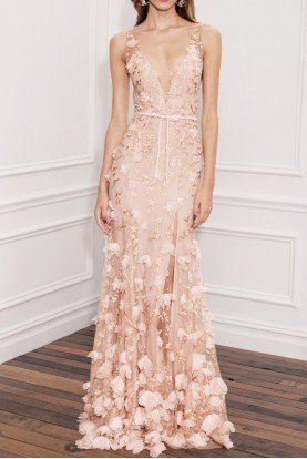 Blush Pink Sleeveless 3D Embroidered Gown