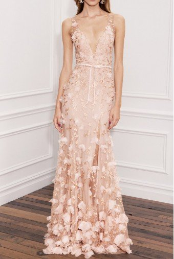 Marchesa Notte Blush Pink Sleeveless 3D Embroidered Gown