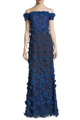 Marchesa Notte Off Shoulder 3D Petal Column Gown Evening dress