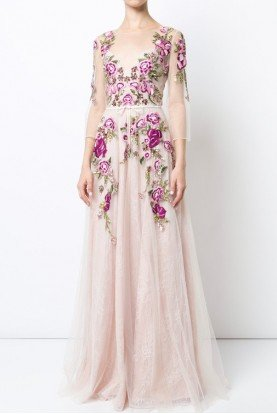 Sleeved Floral Tulle Evening Gown Evening Dress