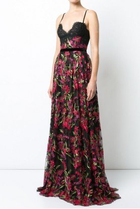 Marchesa Notte Sleeveless Embroidered A Line Floral Evening Gown