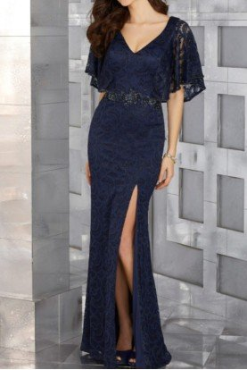 MGNY by Mori Lee Navy Blue Metallic Lace Evening Gown
