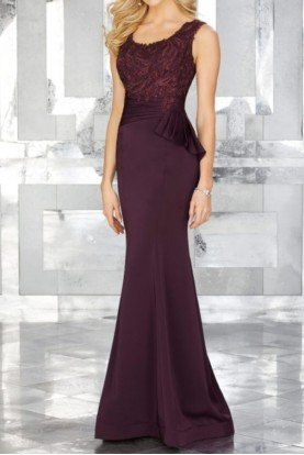 Sleeveless Purple Beaded Embroidery on Crepe Gown