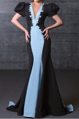 MNM Couture Color Block Black Blue Fitted Mermaid Evening Gown