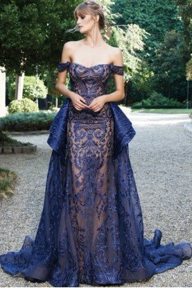 MNM Couture Blue Embroidered Lace Strapless Off Shoulder Gown