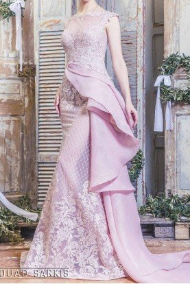MNM Couture Pastel Pink Side Ruffle Lace Evening Gown