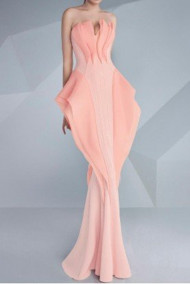 Geometric Pastel Pink Strapless Ruffle Gown