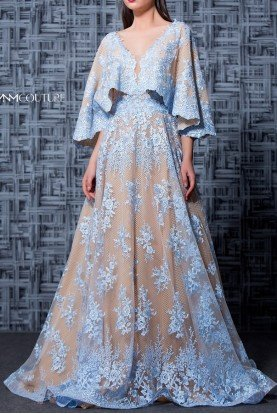 Light Blue Floral Quarter Sleeve Evening Gown