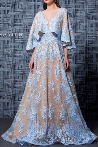 MNM Couture Light Blue Floral Quarter Sleeve Evening Gown