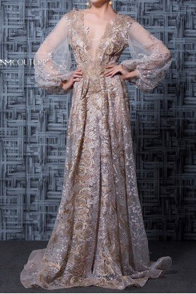 MNM Couture Beige Long Sleeve Beaded Lace  Evening Gown