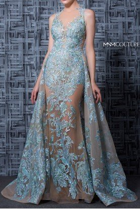 MNM Couture Nude Light Blue Sleeveless Lace Evening Gown Dress