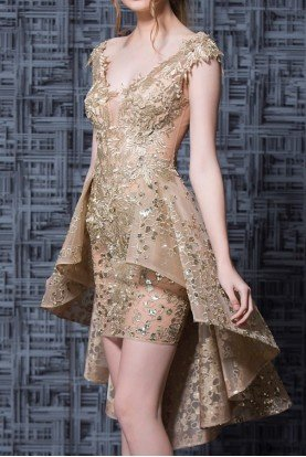Gold Nude Lace Embroidered High Low Dress