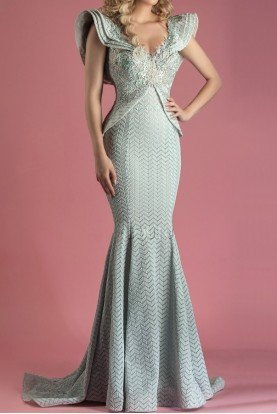 MNM Couture Aqua Blue Short Sleeve 3D Embroidered Evening Gown