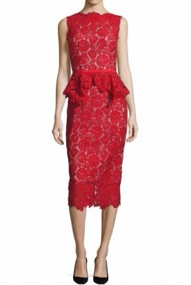 Hana Peplum Lace Sheath Midi Dress