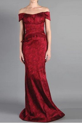 Red Off the Shoulder Jacquard Evening Gown