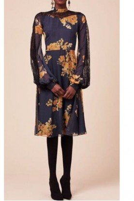 Sachin Babi Long Sleeve Floral Print Georgette Velir Dress