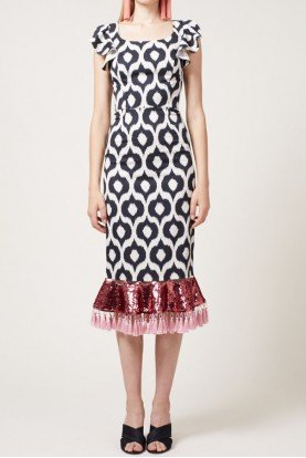 Sachin Babi Short Sleeve Black Print Body Con Ayran Dress